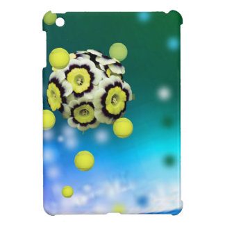 Flower and tennis balls flying on air. iPad mini covers