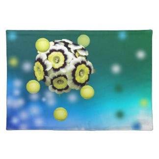 Flower and tennis balls flying on air. placemat