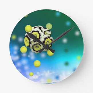 Flower and tennis balls flying on air. round clock