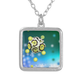 Flower and tennis balls flying on air. silver plated necklace