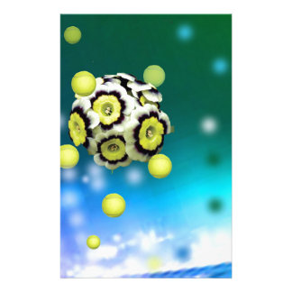 Flower and tennis balls flying on air. stationery