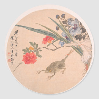 Flower and Toad - Zhang Xiong (Chinese, 1803–1886) Classic Round Sticker