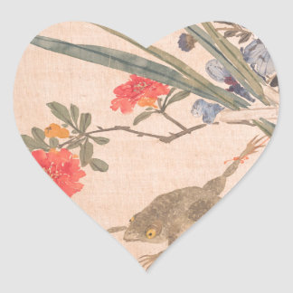 Flower and Toad - Zhang Xiong (Chinese, 1803–1886) Heart Sticker
