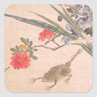 Flower and Toad - Zhang Xiong (Chinese, 1803–1886) Square Sticker