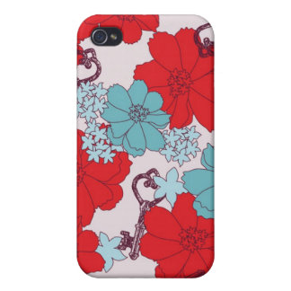 Flower and Vintage Key Speck Case Case For The iPhone 4