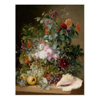Flower Arrangement and Seashell Postcard