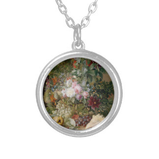 Flower Arrangement and Seashell Silver Plated Necklace