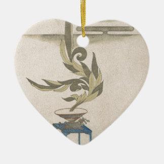 Flower Arrangement - Utagawa Itchinsai Ceramic Heart Ornament