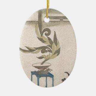 Flower Arrangement - Utagawa Itchinsai Ceramic Oval Ornament