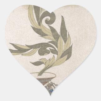 Flower Arrangement - Utagawa Itchinsai Heart Sticker