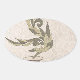 Flower Arrangement - Utagawa Itchinsai Oval Sticker