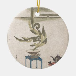 Flower Arrangement - Utagawa Itchinsai Round Ceramic Ornament