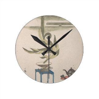 Flower Arrangement - Utagawa Itchinsai Round Clock