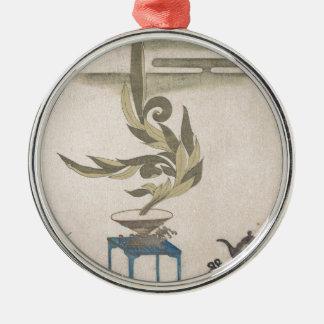 Flower Arrangement - Utagawa Itchinsai Silver-Colored Round Ornament