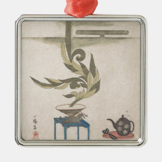 Flower Arrangement - Utagawa Itchinsai Silver-Colored Square Ornament