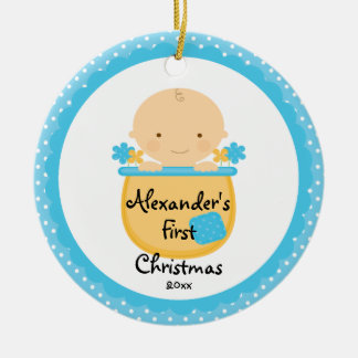 Flower Baby Boy Baby's First Christmas Ornament