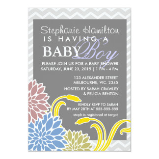 Flower baby boy shower invites