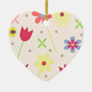 flower background for your text ceramic heart ornament
