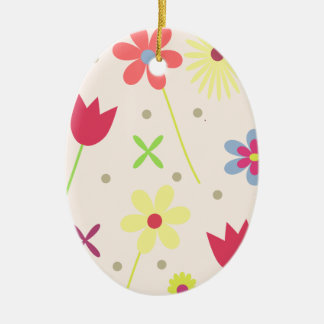 flower background for your text ceramic oval ornament