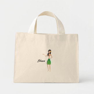 flower bag-hula girl mini tote bag