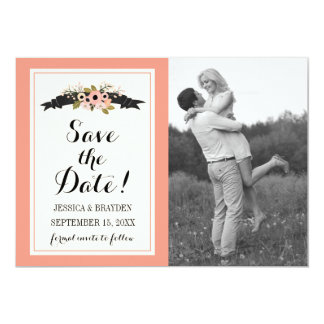 Flower Banner - Save The Date Card