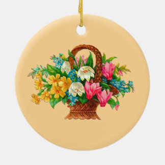 FLOWER BASKET VINTAGE DESIGN CERAMIC ORNAMENT