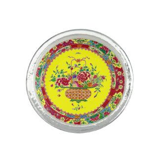 Flower Basket Yello Oriental Pottery Tile Vase Art Ring