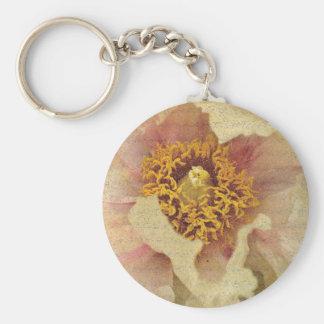 Flower Beauty Basic Round Button Keychain