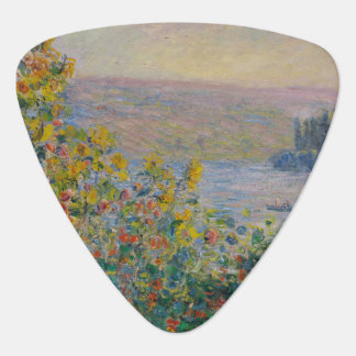 Flower Beds at Vetheuil by Claude Monet Guitar Pick