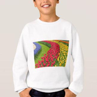Flower beds of multicolored tulips sweatshirt
