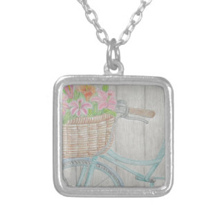 Flower bike silver plated necklace