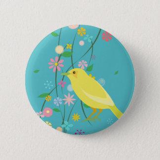 flower bird(blue) 2 inch round button