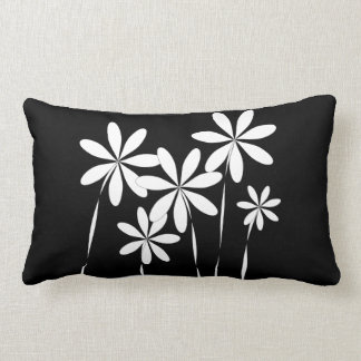 Flower Bliss2 Black & White Lumbar Pillow