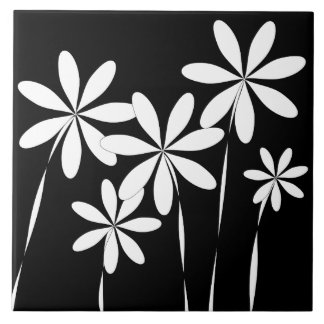 Flower Bliss2 Black & White Tile