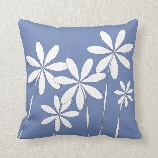 Flower Bliss on Blue Throw Pillow