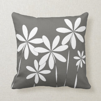 Flower Bliss on Charcoal Grey Throw Pillow