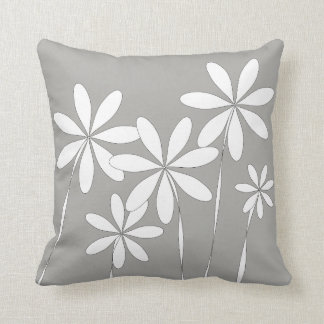 Flower Bliss on Grey Throw Pillow