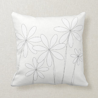 Flower Bliss White on White Throw Pillow