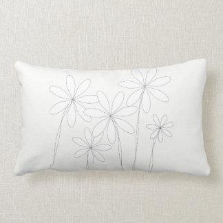 Flower Bliss White on White White Lumbar Pillow