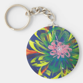 Flower blooming in the COOL sea of the universe Basic Round Button Keychain