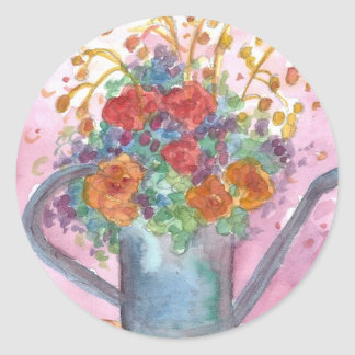 Flower Bouquet Antique Watering Can Classic Round Sticker