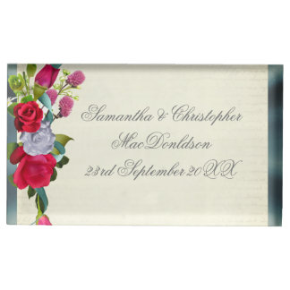 Flower bouquet floral and silver wedding table card holder