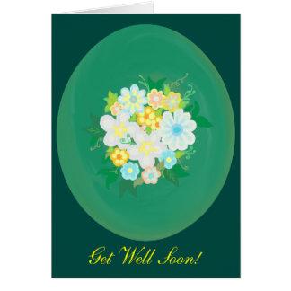 Flower Bouquet Get Well Card - Oval Design