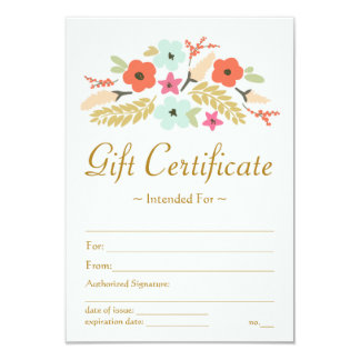 Flower Bouquet Gift Certificate Card