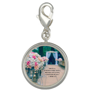 Flower Bouquet Love and Wedding Aisle Bible Verse Charm