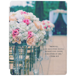 Flower Bouquet Love and Wedding Aisle Bible Verse iPad Cover