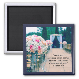 Flower Bouquet Love and Wedding Aisle Bible Verse Magnet