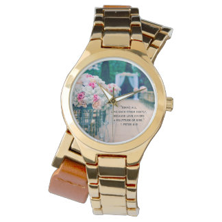 Flower Bouquet Love and Wedding Aisle Bible Verse Watch