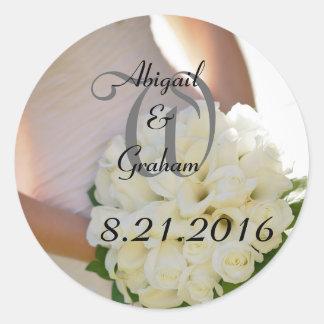 Flower Bouquet Wedding Classic Round Sticker
