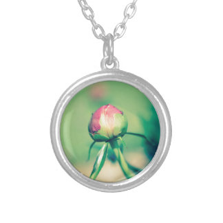 flower bud crossprocessbulb silver plated necklace